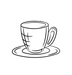 Cup and saucer on a white background vector image vector image