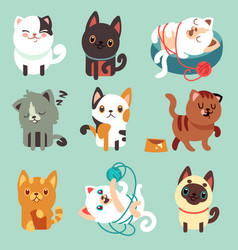 Cute cartoon cats funny playful kittens vector
