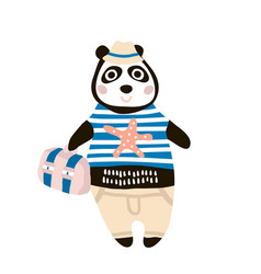 Cute dressed panda tourist hand drawn vector