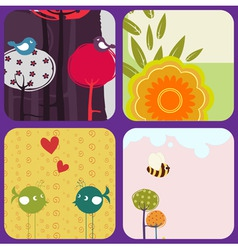 greeting cards with retrostyle birds and trees vector image vector image