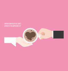 groom and bridge holding cup of coffee vector image vector image