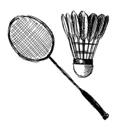 Hand sketch badminton racket and shuttlecock vector image