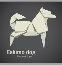 husky dog origami vector image vector image