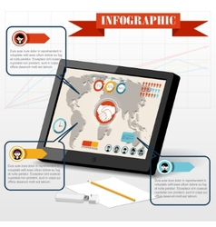 Isometric business social infographics people PC vector image vector image