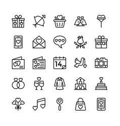 Love and valentine line icons 8 vector