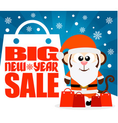monkey new year big sale background vector image