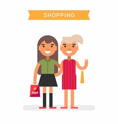 Mother and daughter go shopping colored flat vector