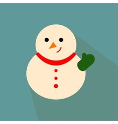 Nice snowman on the blue background vector image vector image