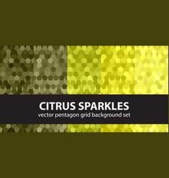 Pentagon pattern set citrus sparkles seamless vector