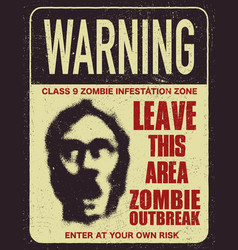 Poster zombie outbreak sign board vector