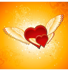 red heart on golden background with wings vector image