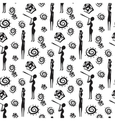 Seamless pattern with african people and native vector image