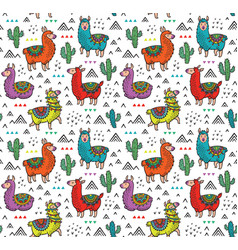 Seamless pattern with cute colorful alpacas vector