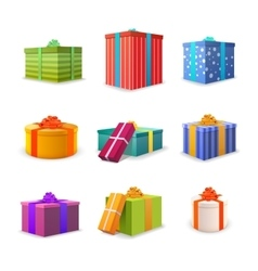 Set of different colourful bright gift boxes with vector