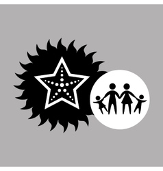 Silhouette family vacation starfish sea marine vector