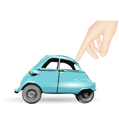 Toy car and human hand vector