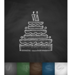 Wedding cake icon hand drawn vector