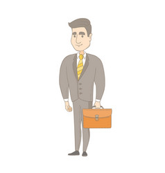 Young caucasian businessman holding briefcase vector