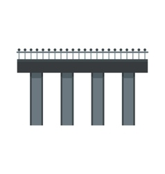 Bridge with steel railings icon flat style vector