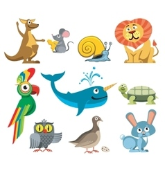 Cute animals set in cartoon style vector