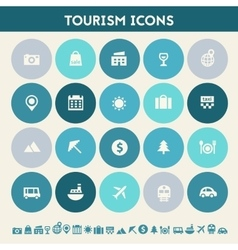 Tourism icon set Multicolored flat buttons vector image
