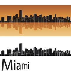 Miami skyline in orange background vector image