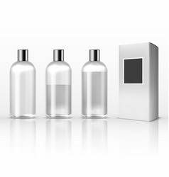 Cosmetic clear plastic bottles empty transparent vector