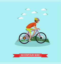 boy riding mountain bike in vector image
