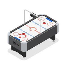 Table air hockey game isometric view vector