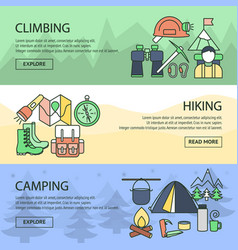 Mountaineering horizontal linear banners set vector