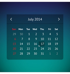 Calendar page for july 2014 vector