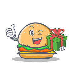Wink burger character fast food with gift vector