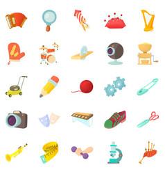 Sports hobby icons set cartoon style vector