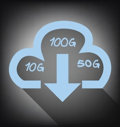 Cloud with download arrow icon on grunge vector