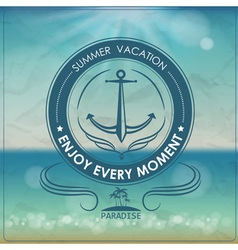 Vintage summer background and label with anchor vector image