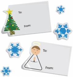 Christmas tags and stickers vector image