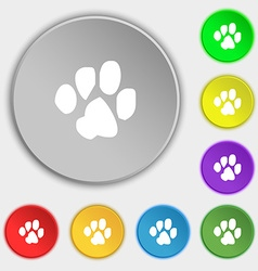 Trace dogs icon sign symbol on five flat buttons vector