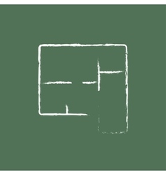 Layout of the house icon drawn in chalk vector