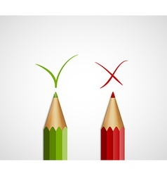 Pencil green tick and red cross With Yes And No vector image
