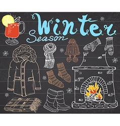 Winter season set doodles elements hand drawn set vector