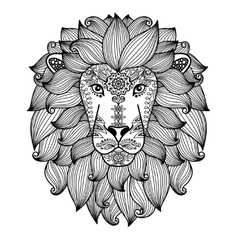 Lion head with ethnic floral pattern vector
