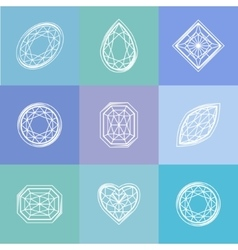 Template with stylized diamond Blue and white vector image