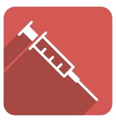 Empty syringe flat rounded square icon with long vector