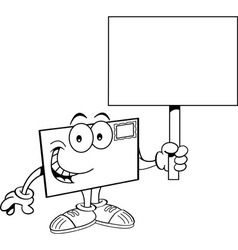 Cartoon envelope holding a sign vector