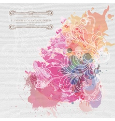 Watercolor background floral composition vector