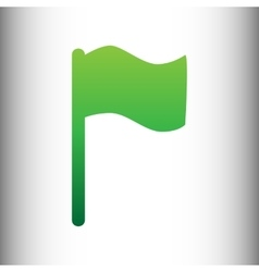 Flag sign green gradient icon vector