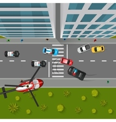 Police chase top view vector