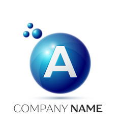 A letter splash logo blue dots and circle bubble vector