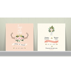 Antler flowers rustic wedding save the date vector image vector image