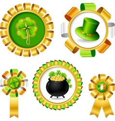 Award ribbons with Saint Patricks day objects vector image vector image